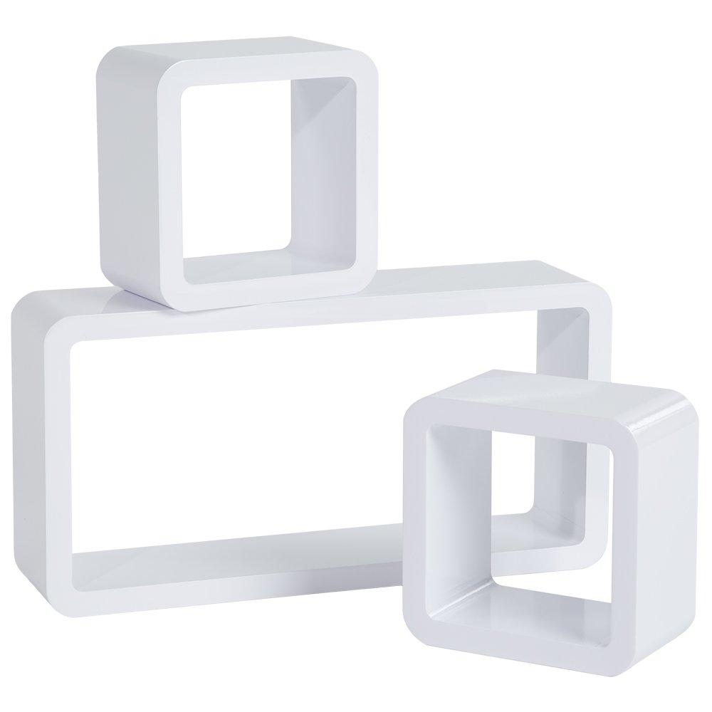 Genial Hängeregal Weiß Hochglanz Sammlung Von Tectake 3er Set Wandregal Hängeregal Bücherregal Cube