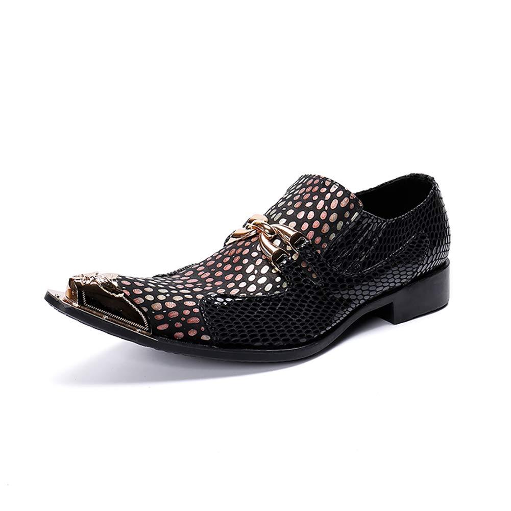 schuhe Herren Westernspitze Cowboy-Schuhe aus Metall mit Zehenspitzen Gepunktete Schlangenhaut Strukturiertes Leder Schwarz,EU37