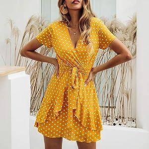 ECOWISH Womens Dresses V Neck Polka Dot Ruffles Mini Sexy Dress Short Sleeve Summer Dresses with Belt