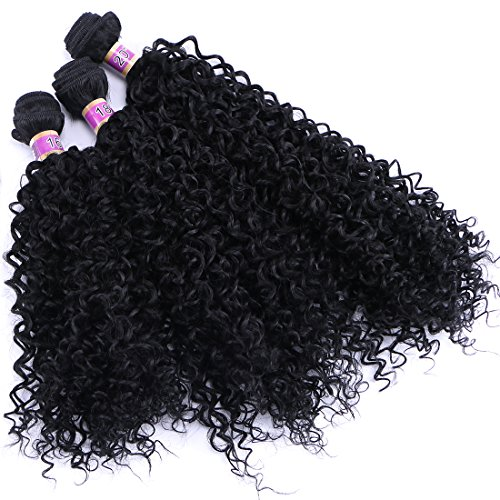 Kinky Curly Synthetic Hair Weave 3 Bundles 16 18 20 Inches Black Synthetic Hair Extensions