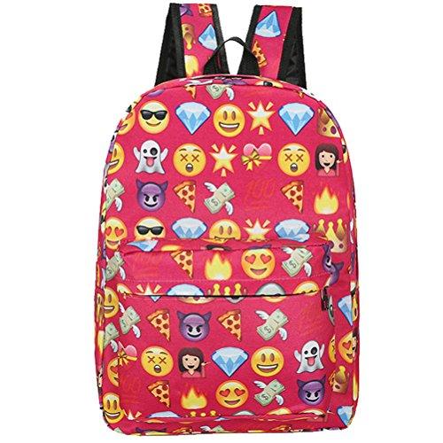 Donalworld Women Smiley Emoji 3D Printing School Leather Backpack Pt1