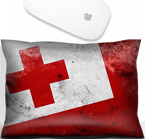 (Luxlady Mouse Wrist Rest Office Decor Wrist Supporter Pillow Natural Rubber Mousepad. IMAGE: 31067693 Tonga Flag with a vintage and old look)