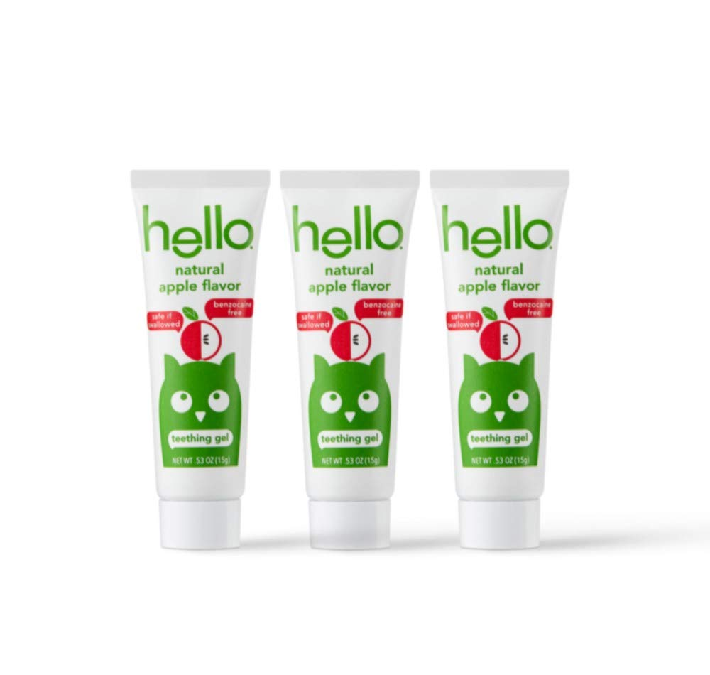 Hello Oral Care Natural apple infant teething gel.53 ounce, 3 Count