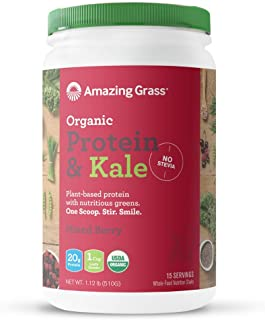 product image for Amazing Grass Vegan Protein & Kale Powder: 20g of Organic Protein + 1 Cup Leafy Greens per Serving, Mixed Berry, 15 Servings