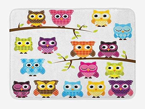 Owls Bath Mat, Owls on Tree Branches Night Time Jungle Wildlife Patchwork Quilt Style Design Clipart, Plush Bathroom Decor Mat with Non Slip Backing, 23.6 W X 15.7 W Inches, ()