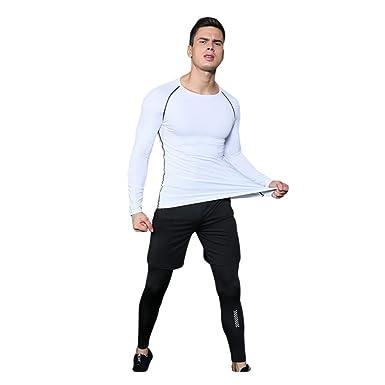 YAANCUNN Homme 3 Pcs Vêtements de Sport Avec Manches Longues Shirt  Compression Collant Running Short Séchage f2caa14602c