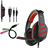 PS4 Xbox One Gaming Headset, Beexcellent GM-3 Gaming Headset, Noise Isolating 3.5mm Xbox Over ear Headphones with Mic LED Light Volume Control Splitter for PC Laptop Tablet Phone (Red) For Sale