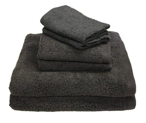 J&M Home Fashions, 100% Cotton Bath Towels, Lightweight and AbsorbantSet 6-Piece, Dark - Portofino Bath