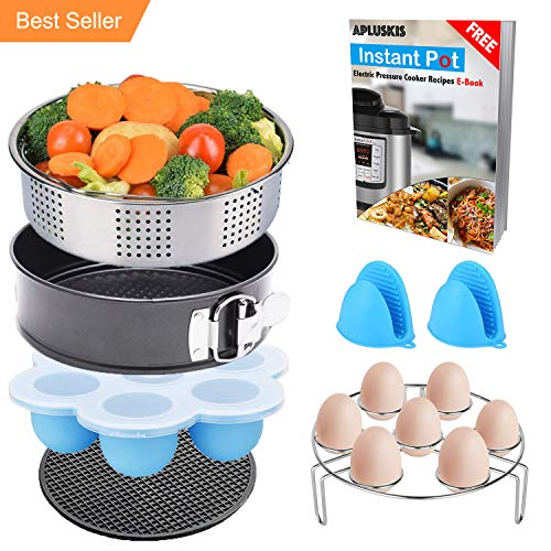 7-Piece Accessories Set for Instant Pot Fits 5,6,8 Qt Instant Pot Pressure Cooker with Steamer Basket/Egg Steamer Rack/Non-stick Springform Pan/Egg Bites Molds/Free Instant Pot Recipes E-Book