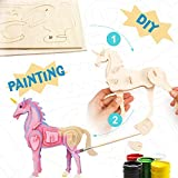 Robotime DIY Wooden Toys - 3D Wooden Puzzle Unicorn - Assemble Kits Set for Boys and Girls