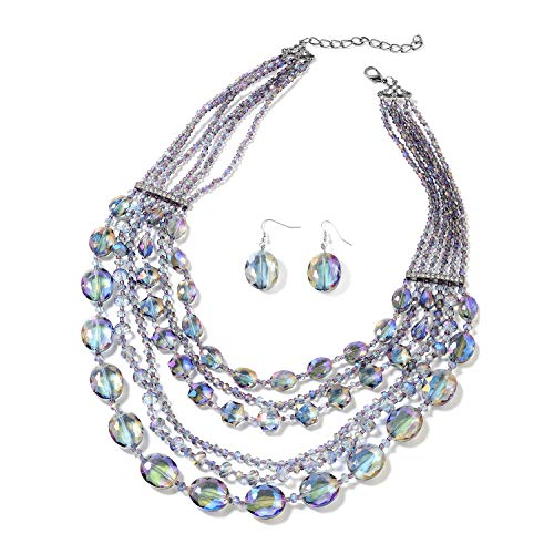 """Shop LC Delivering Joy Purple Glass White Crystal Iron Stainless Steel Earrings and Multi-Row Necklace for Women Jewelry Set Gift 24"""""""