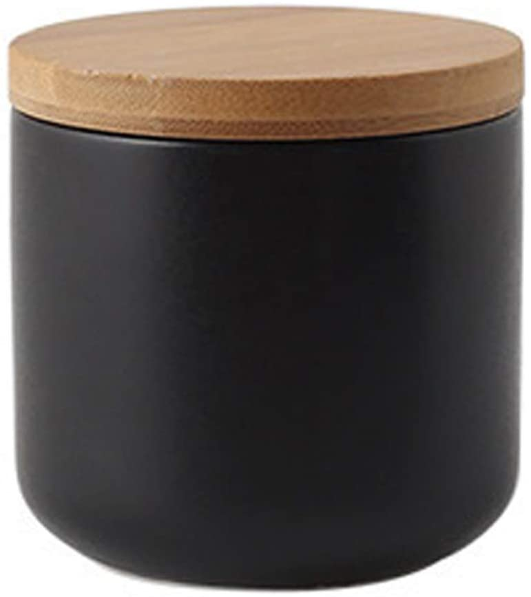 jessie Ceramic Storage Containers with Airtight Seal Bamboo Lids Kitchen Canisters for Tea Spice Seasoning Sugar Coffee (black, 260ml/9 oz)
