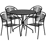Flash Furniture 35.25'' Round Black Indoor-Outdoor Steel Patio Table Set with 4 Round Back Chairs