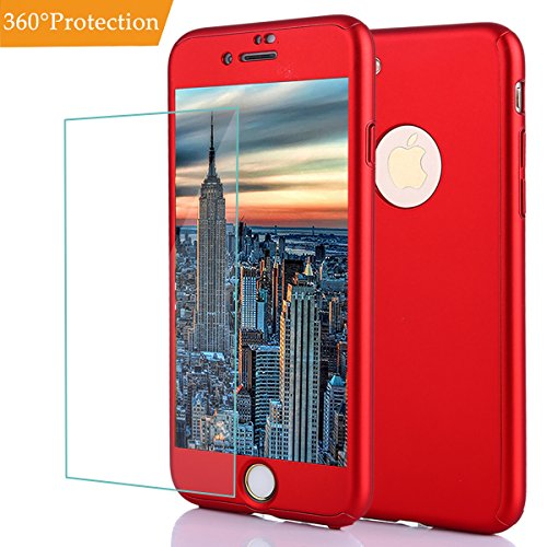 Iphone 8 Plus Case,Iphone 7 Plus Full Body Shockproof Protective Hard PC Case Ultra Thin Anti Scratch Dual Layer Removable Hybrid Cover with Tempered Glass Screen Protector for Iphone 8 Plus (Red+) ()