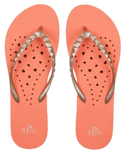 Showaflops Girls Antimicrobial Shower & Water Sandals for Pool, Beach, Camp and Gym - Elongated Heart