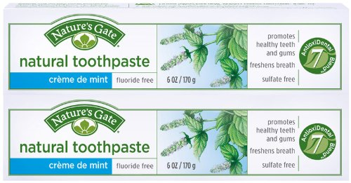 Nature's Gate Fluoride-Free Natural Creme toothpaste - 6 oz - Crme de Mint - 2 pk