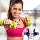 YOHTON Bluetooth Headphones Mic, Wireless Neckband Bluetooth Headphones Wireless Earbuds Sports Over Ear in Ear Noise Cancelling Earbuds up to 9 Hours Working (Magnetic Aluminum Design) (Blue)