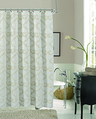 Rayon Curtain - Dainty Home Luxembourg Rayon Blend Fabric Shower Curtain, Ivory