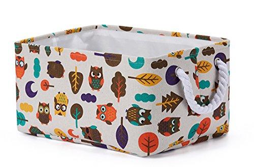 LEELI Rectangular Canvas Storage Basket Collapse Fabric Cartoon Storage Cube Bin With Handles for Organizing Kids Toy/Playroom Organization/Toy Bin/Closet/Shelf Baskets/Baby Hamper(owl)
