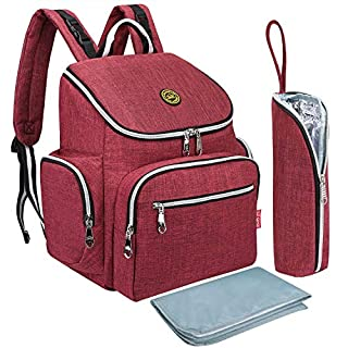 Qimiaobaby Multi-Function Baby Diaper Bag Backpack with Changing Pad and Portable Insulated Pocket (Red Win)