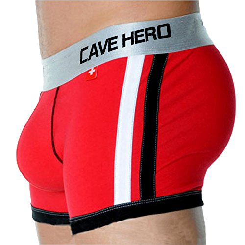 CaveHero Front Enhancing Padded Stretch Modal Cotton Shorts Sexy Hip Push Up Men Boxer Underwear (X-Large, Red)