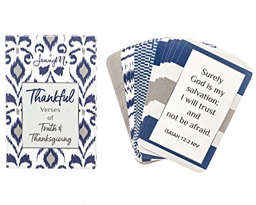 Prayer Card Postcards - JennyM | Thankful Verses of Truth and Thanksgiving Bible Verses Inspirational Prayer Cards, Memory Verse of the Day Scripture Cards with Keepsake Box, Boxed Inspirational Blessing Cards