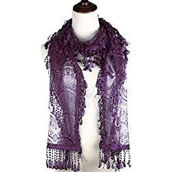 BYOS Womens Delicate Victoria Vintage Inspired Fan Pattern Lace Scarf (Eggplant Purple)
