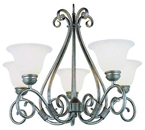 Trans Globe Lighting 6395 PW Chandelier with White Glass Shades, Pewter Finished - Pewter Chandelier