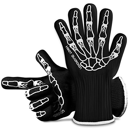 Heat Guardian Heat Resistant Gloves - Protective Gloves Withstand Heat Up To 932℉ - Use As Oven Mitts, Pot Holders, Heat Resistant Gloves for Grilling - Features 5