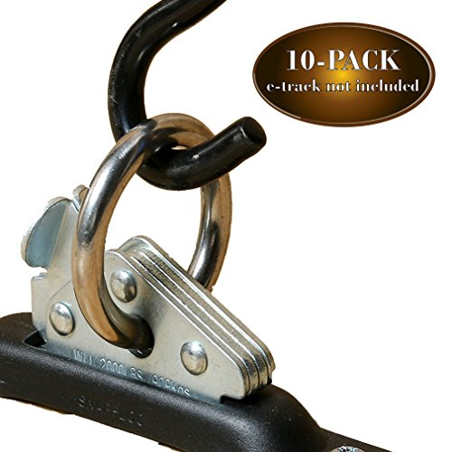 DC Cargo Mall 10-Pack Heavy Duty Steel E-Track O Ring Tie-Down Anchors w/ E Track Spring Fitting Attachments, O-Rings, Tie Down Cargo Loads to ETrack TieDown System in Trailer, Truck, Van, Pickup