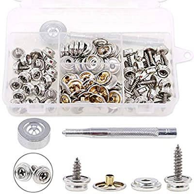 """Hilitchi 120Pcs Silver [2-Sizes] Fastener Screw Snaps Marine Grade 3/8"""" Socket with Stainless Steel Philips Screws with Setting Tool Boat Canvas Snaps Set for Boat Cover Canvas Furniture Fabric"""