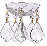 Asfour Crystal – 1 Piece – 4-inch 5 Side Holes – Clear 30% Lead Crystal Chandelier Bobeche with French Cut – Gold Pin Review
