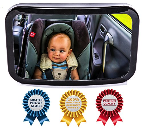 Baby Backseat Mirror for Car - View Infant in Rear Facing Car Seat - 100% Lifetime Satisfaction Guarantee - Best Newborn Safety With Secure Headrest Double-Strap - Essential Car Seat Accessories (Infant Car Seats With Stroller compare prices)