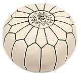 Casablanca Market Moroccan Embroidered Cotton Stuffed Leather Pouf/Ottoman, Black on White