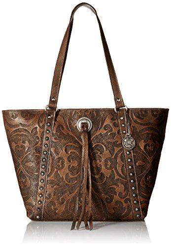 American West Baroque Zip Top Bucket Tote, Distressed Charcoal Brown by American West