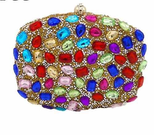 Nuevos Señoras Bolsos Señoras Diamantes Bolsos Color Rhinestones Perforación Caliente Bolsos De Tarde Mini Banquete Bolsos SymphonyOfGold