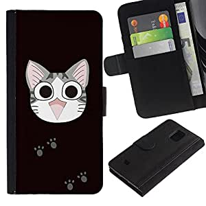 Ihec-Tech / Flip PU Cuero Cover Case para Samsung Galaxy S5 Mini, SM-G800, NOT S5 REGULAR! - Cute Japanese Happy Cat