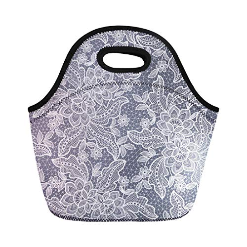 Semtomn Lunch Tote Bag Pattern Lace Floral Crochet Flower White Antique Ribbon Doily Reusable Neoprene Insulated Thermal Outdoor Picnic Lunchbox for Men Women ()