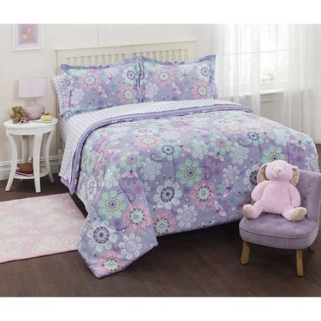 Mainstays Kids Floral Beautiful Soft Lavender Purple Shertbet Down Bedding Twin Comforter for Girls