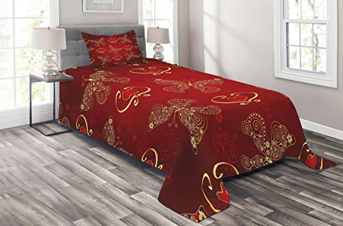 Lunarable Maroon Coverlet Set Twin Size, Valentines Day Romance Swirled Lines Ornate Lace Style Butterflies Hearts, 2 Piece Decorative Quilted Bedspread Set with 1 Pillow Sham, Yellow Vermilion