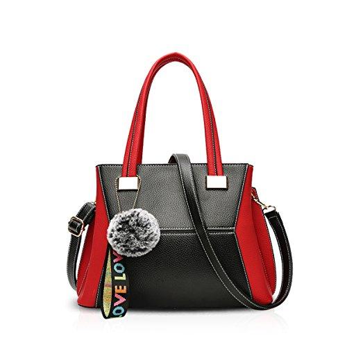 NICOLE&DORIS Nuevo Moda Bolsos de Mano Crossbody Mujer Bandolera Bolsa de viaje Mensajero PU Rojo