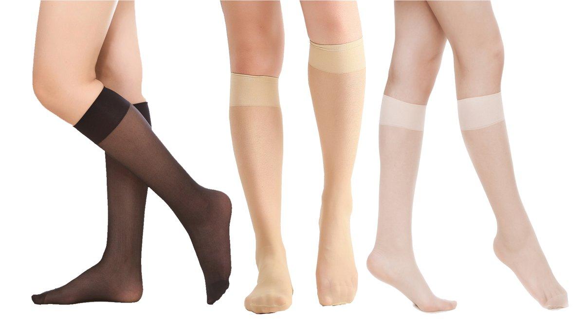 Women's 6 Pack Silky Sheer Knee High trouser socks reinforced toe(assort)