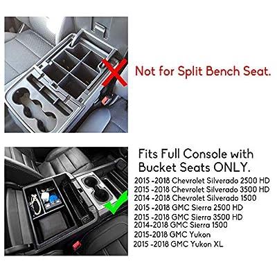Jaronx Center Console Organizer Tray+Coin Holder for Chevy Silverado/GMC Sierra 1500 (2014-18) and 2500/3500 HD (2015-19) / Chevy Suburban/Tahoe/GMC Yukon (2015-20),Armrest Secondary Storage Box: Automotive