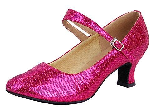 Honeystore Womens Soft Ground Mary Jane Glitter Dance Shoes Fuschia evKwq