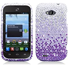 AIMO Dazzling Diamond Bling Case for ZTE Savvy Z750C [Straight Talk, Net10] - (Waterfall - Purple)