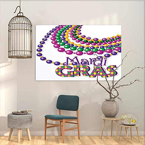 (Oncegod Canvas Pictures Sticker Murals Mardi Gras Colorful Beads Party Necklaces with Mardi Gras Calligraphy Patterned Design Modern Decorative Artwork Multicolor W19 xL15)