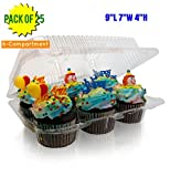 6-Compartment Cupcake Container-Cupcake and Muffin Containers with Superior Hinged Lid, Clear (pack of 25, 6-Compartment)