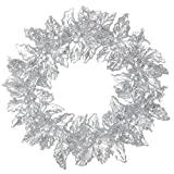 RAZ Imports - 5 Inch Silver Glitter and Clear Plastic Christmas Holly Wreath Ornament