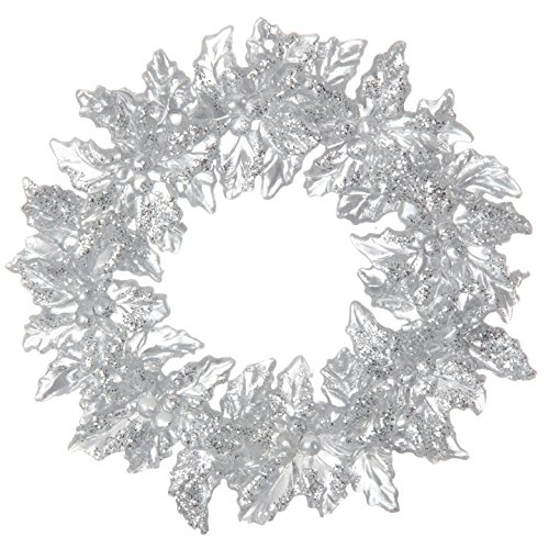 RAZ Imports - 5 Inch Silver Glitter and Clear Plastic Christmas Holly Wreath Ornament by RAZ Imports