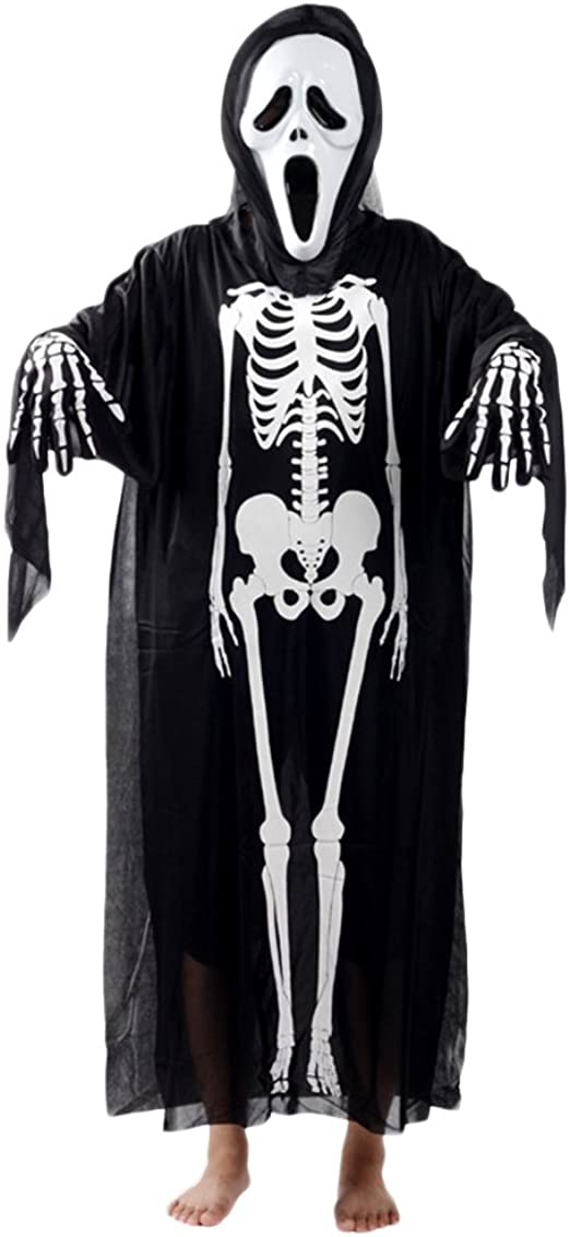 Halloween Kostuem Skelett Amazon.Zongsen Halloween Kostum Cosplay Schadel Skelett Geist Fasching Karnevall Erwachsene Kinder Amazon De Bekleidung